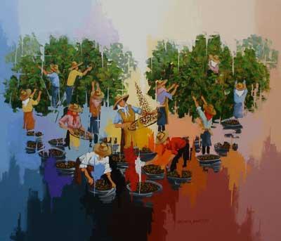 Colheita de Café, pintura ilustrativa com Cafeeiro e Trabalhadores