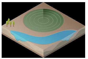 Modelo de pivô central para irrigação